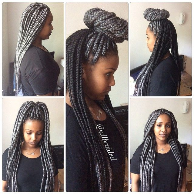 Silver And Black Braids Call it grey or silver . bum length box braid ...
