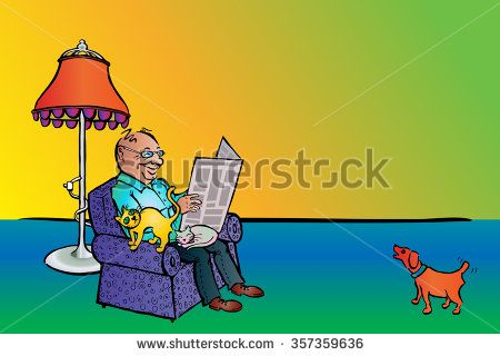 Man Reading News with Cats and Dog, Colored Caricature, Landscape