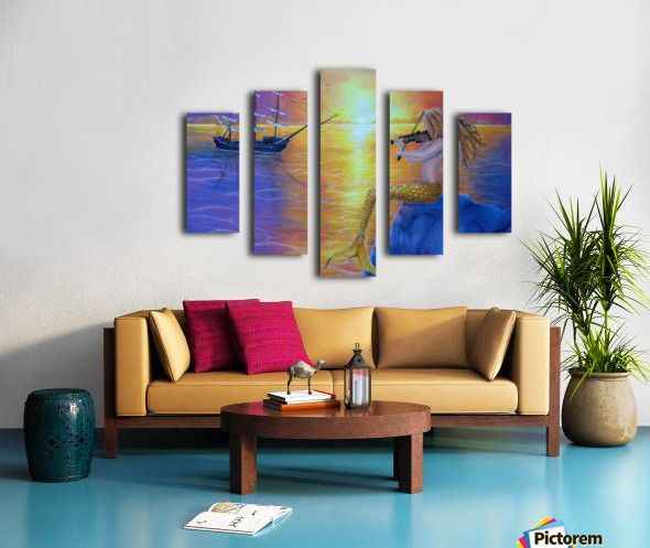 summer,painting,Polyptych, 5 split,  stretched, canvas, multi panel, prints, for sale, mermaid,ocean,scene,aquatic,creature,seascape,ship,sailboat,marine,nautical,mythical,mythological,legendary,fantasy,dreamscape,sitting,sunset,sunlight,tail,fin,enchanting,vivid,colorful,purple,water,atmospheric,nude,feminine,rock,violin,fiddle,player,long,hair,performance,music,imagination,contemporary,realism,figurative,fine,wall,art,images,home,office,decor,artwork,modern,items,ideas,pictorem
