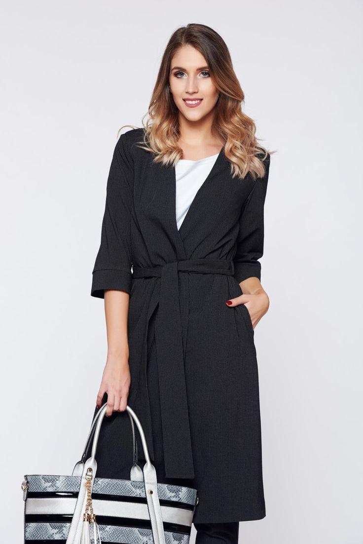 Comanda online, Sacou PrettyGirl negru office eleganta accesorizata cu cordon. Articole masurate, calitate garantata!