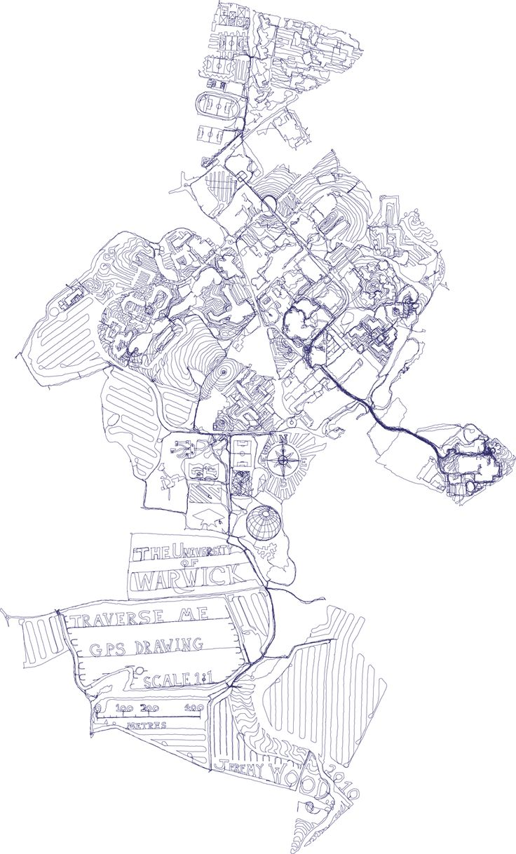 Traverse Me - The University of Warwick campus drawn on foot with 238 miles of GPS tracks over 17 days.