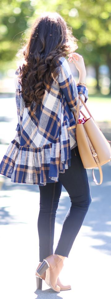 Free People Ruffle Detail Plaid Top Fall Inspo by The Sweetest Thing