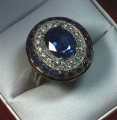 1920s ESTATE ART DECO STYLE SAPPHIRE & DIAMOND RING