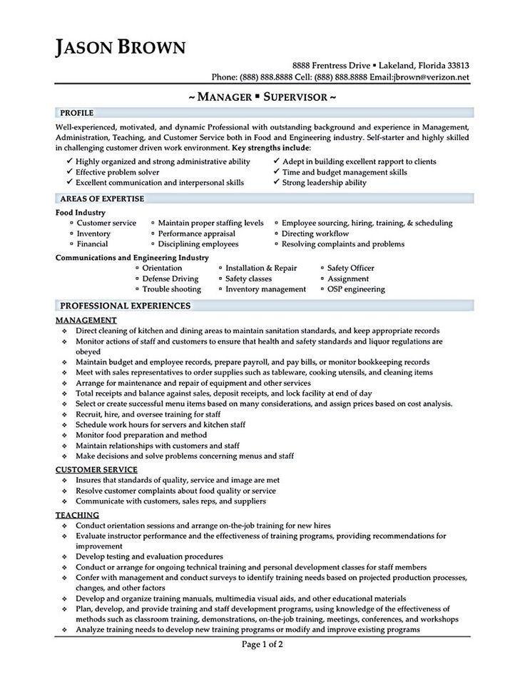 Perfect Resume For Restaurant Job