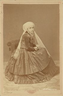 Portrait of a woman wearing traditional dress from the island of Psarra  Athens, circa 1880 Petros Moraites  From the Benaki Museum Online Photograph Archives  HellenicGenealogyGeek.com - Family History Research Tools for Greek Genealogy