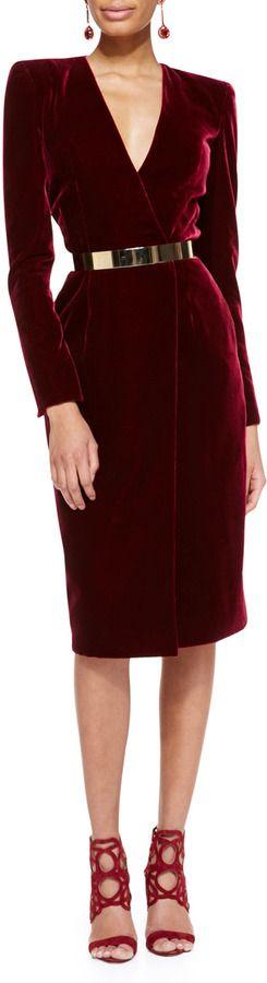 Oscar de la Renta Oscr de lRent Long-Sleeve Velvet Crossover Dress on shopstyle.com