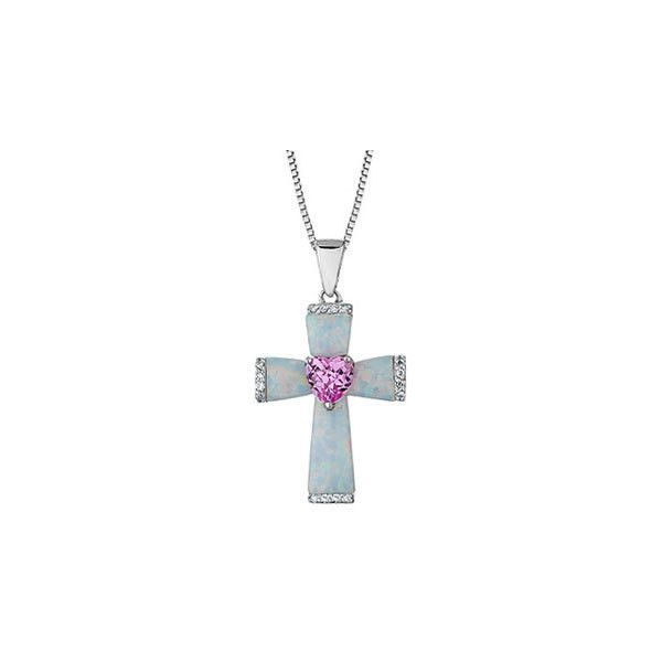 Reeds Sterling Silver Created Opal Pink Sapphire And Diamond Cross... (1,345 GTQ) ❤ liked on Polyvore featuring jewelry, necklaces, sterling silver cross necklace, cross necklace, sterling silver jewelry, pendant necklace and sterling silver crucifix necklace