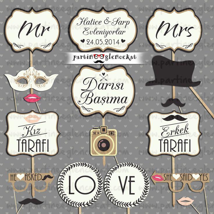 Nişan Düğün Hatıra Fotoğraf Çerçevesi - Konuşma Balonları