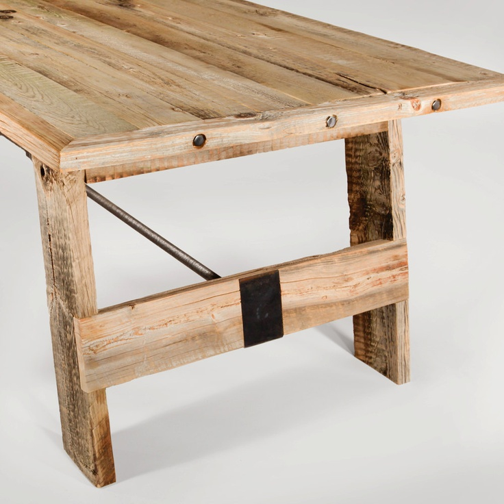 Reclaimed wood dining table with turnbuckle support for Dining room tables etsy