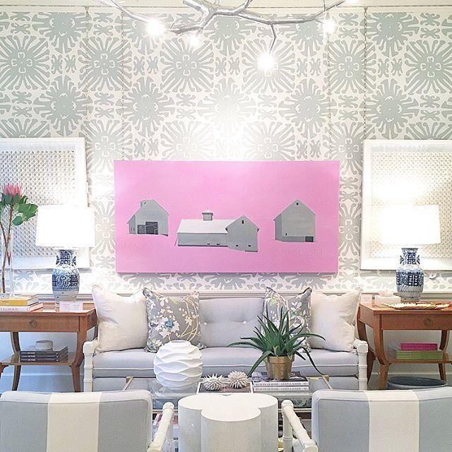 sunroom decor, light blue sofa | art by jean jack and phil durst | blue print store | blueprintstore.com