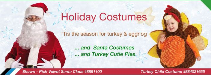 'Tis the season for turkey and eggnog ... and Santa Costumes ... and turkey cutie pies http://www.officialcostumes.com/shop-by-theme/holiday-costumes #OfficialCostumes