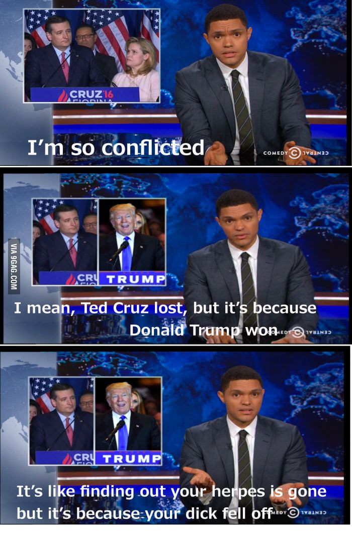The Daily Show's Trevor Noah thoughts about Ted Cruz dropping out of the race…