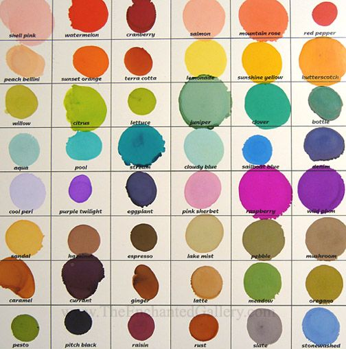 Alcohol Inks color chart adirondack lights brights earth tones tim holtz colors