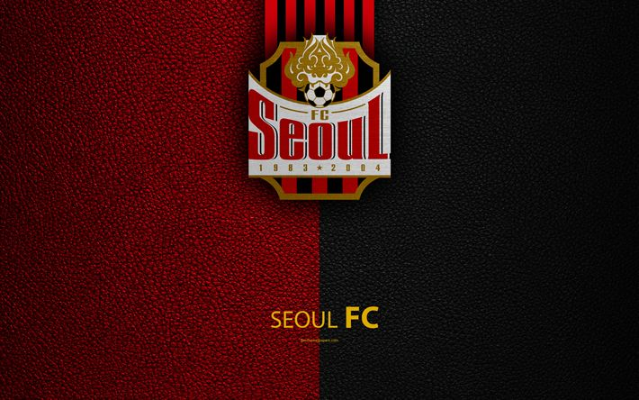 Download wallpapers Seoul FC, 4k, logo, South Korean Football Club, K-League Classic, leather texture, emblem, Seoul, South Korea, football championship