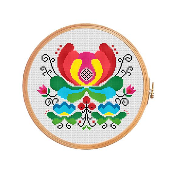 Norwegian folk art flowers - modern cross stitch pattern - rosemaling style bunad pattern traditional pattern spring summer red green poland