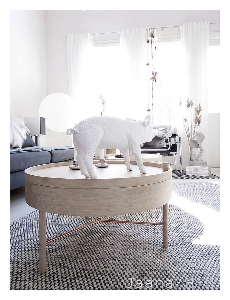 https://www.flickr.com/photos/jaanahn/18511388548  |Turning Table from Menu |  This table is designed by a young German designer Theresa Arns, 2015.  The Harry Allen pig for Areaware (Bank In the form of a Pig).  Trash me table lamp.