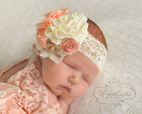 Vintage 1PCS Cute Rhinestone Unusual Angel Baby Pearl Flower Hairband Headband
