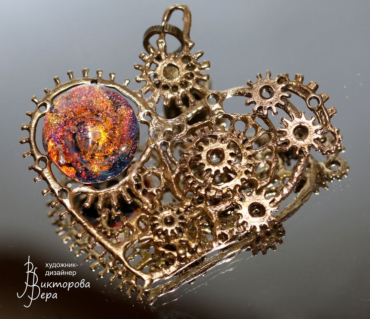 "Pendant ""Heart Steampunk"". Artisan handmade lampwork, handmade bronze;"