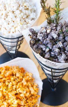 Popcorn Trio Recipes Chocolate Rosemary Olive Oil Popcorn, Sriracha Lime Popcorn and Wasabi Miso Popcorn