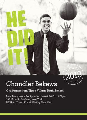 He Did It Photo Grad Invitation Graduation Invitation