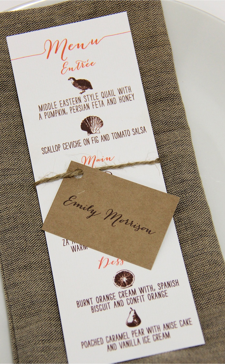 Cute pictorial menu and tag place card www.papyrusdesign.com
