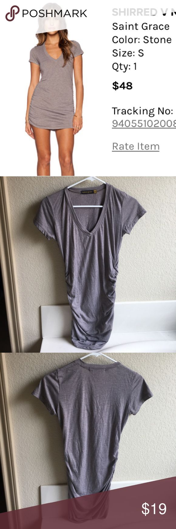 Saint Grace fitted v neck tshirt dress Color is a kind of grey, flattering dress looks great with some over the knee boots! Saint Grace Dresses Mini
