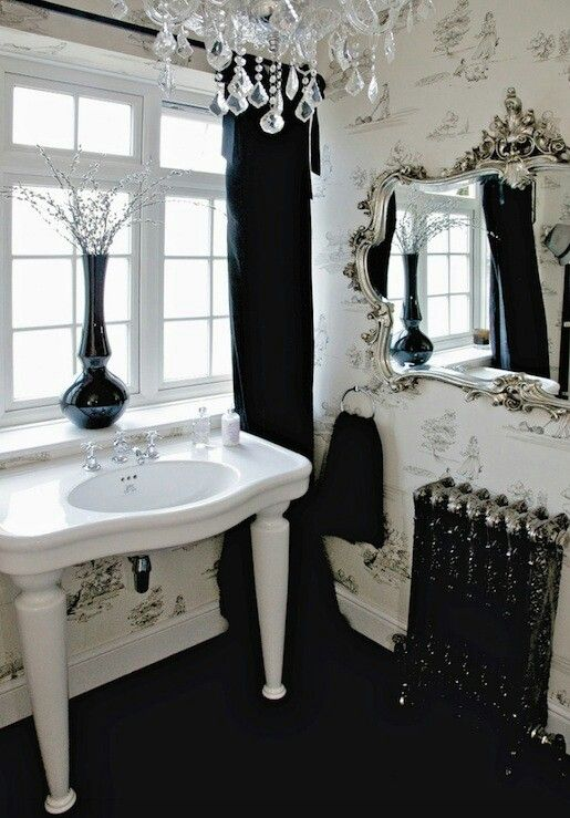 .BLACK & WHITE FOR SOME REASON, ALWAYS SEEMS PERFECT FOR A BATHROOM!! - THIS ONE IS JUST GORGEOUS WITH CHANDELIER, SUPERB MIRROR & WELL CHOSEN FITTINGS! ♠️