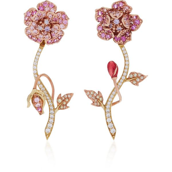Anabela Chan 18K Gold Vermeil Daisy Diamond and Sapphire Earrings ($1,225) ❤ liked on Polyvore featuring jewelry, earrings, pink, pink sapphire jewelry, sapphire stud earrings, pink jewelry, sapphire diamond earrings and pink earrings