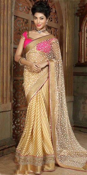 Gorgeous Plain Pallu Saree in Beige Color.