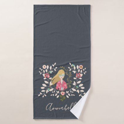 Blonde Long Hair Girl - Selfie Portrait Bath Towel Set - girl gifts special unique diy gift idea