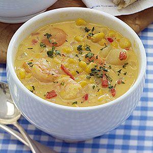 Slow Cooker Corn Chowder w/Shrimp: Crock Pots, Pots Corn, Slow Cooker Recipes, Gluten Free, Corn Chowders Recipes, Shrimp Chowders, Tops Recipes, Shrimp Recipes, Seafood Soups Recipes