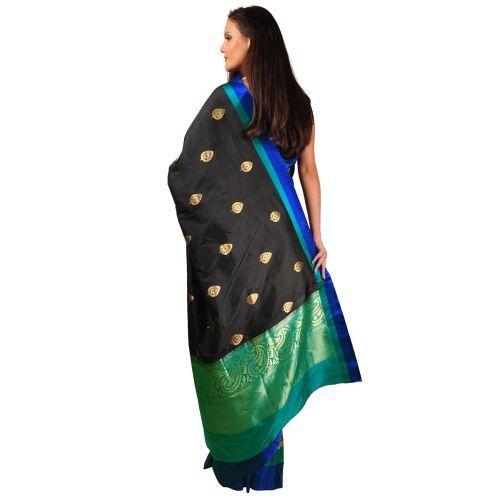Black Hand Crafted Banarasi Zari Weave Pure Butter Silk Saree