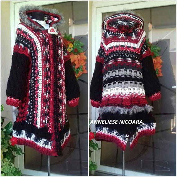 Crochet Winter Coat/Hooded Coat /Red BlackWhite Gray Wool