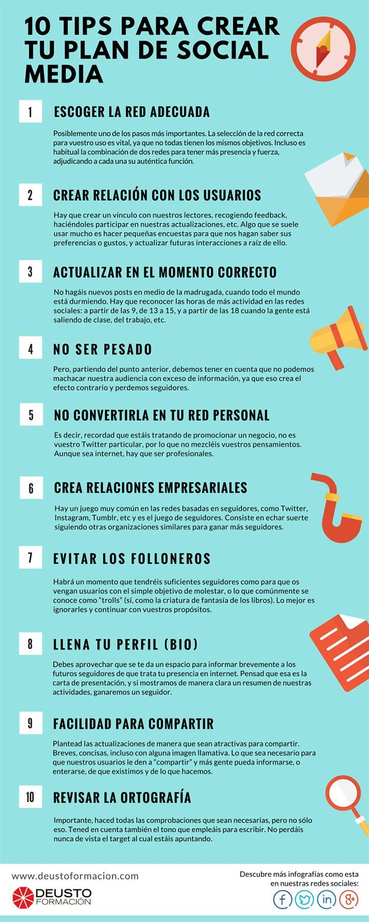 Hola: Una infografía con 10 consejos para crear un Plan de Redes Sociales. Vía Un saludo