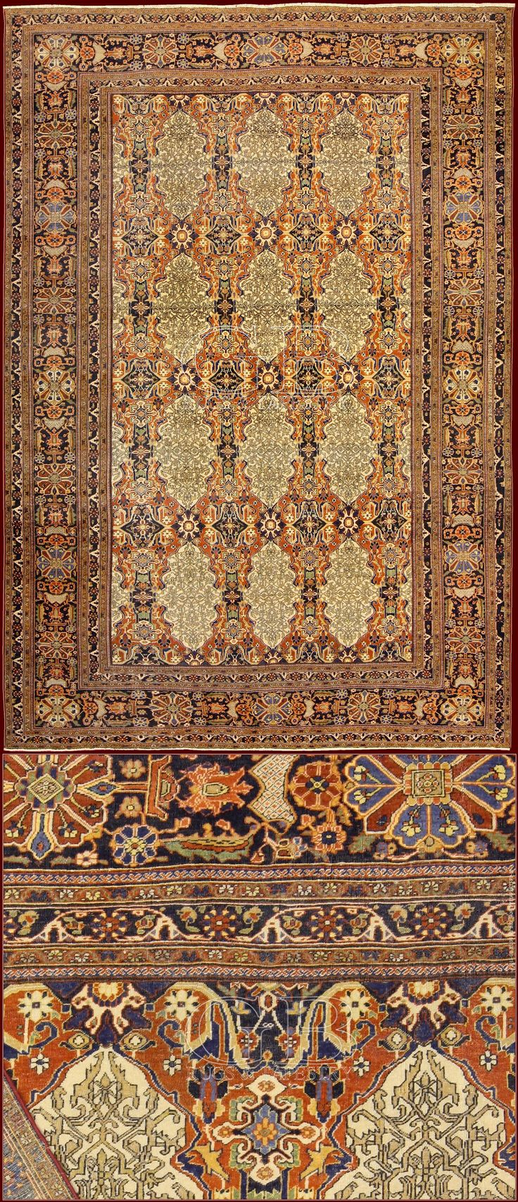 ANTIQUE KASHAN MOHTASHAM RUG	cm 330 x 230	ft 10'9 x 7'6 Cod:: 141134945038 Knots/dmq: 8000 Extraordinary piece with very dense knot attributable to master Kashan Mohtasham's manufactures! The pile is so shiny to seem knotted with the silk. It's a exemplary of old epoch (end of 19th. century) in perfect state of conservation: it has never had restorations and it is completely full pile, rare thing in rugs as this.