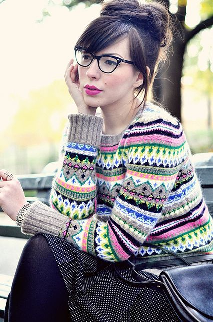 fair isle pattern. What a beautiful young lady with class and style.