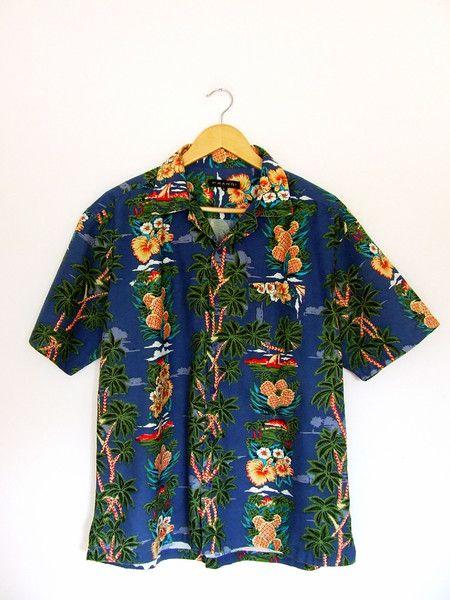 Hawaii printed cotton shirt L rockabilly  w Vintage For Ever  na DaWanda.com