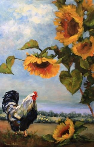 Le Aperitif - Rooster and Sunflower Painting by Texas Flower Artist Nancy Medina, painting by artist Nancy Medina