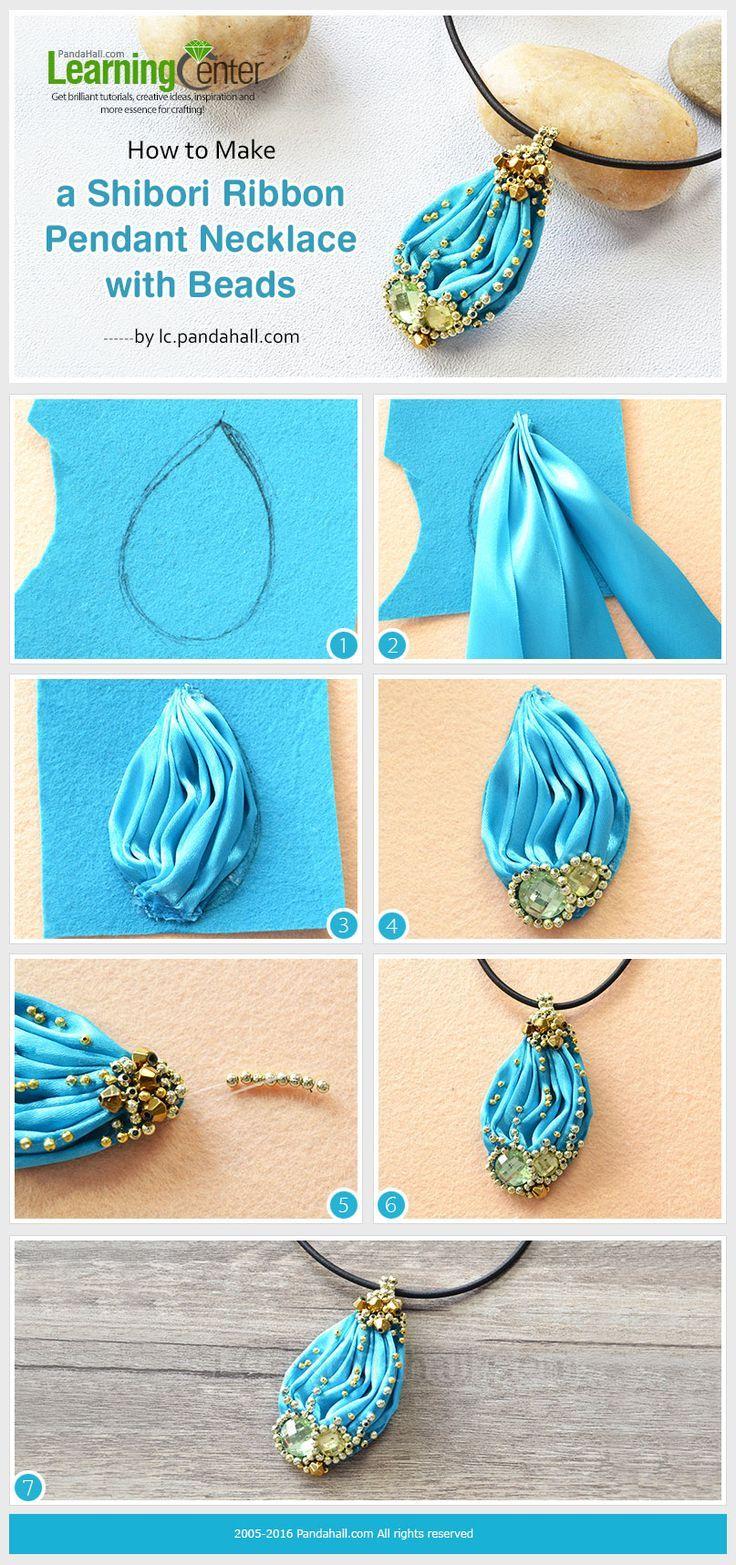 Shibori Ribbon Necklace #Tutorial from http://LC.Pandahall.com #diy #lbloggers #cbloggers #bloggers