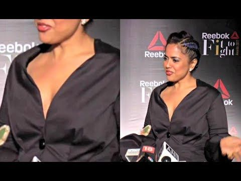 awesome Sameera Reddy Hot In Deep V-Neck Suit At Reebok Fit To Fight Award 2017