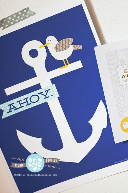 "free printable anchor ""ahoy"" (blog.studiopebbles.com)"
