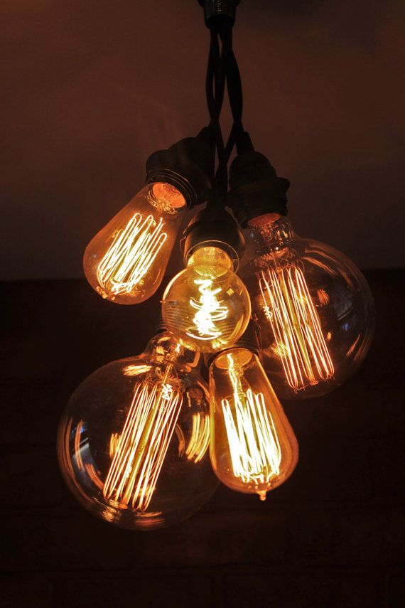 Etsy:  Industrial Chandelier Ceiling Light Edison Bulb by HanorManor