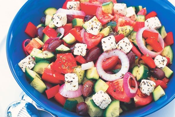 Greek salad. Fresh flavours are the secret to this classic Greek favourite.