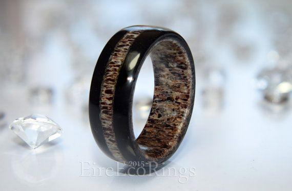 Bog Oak wood wedding ring with deer antler.