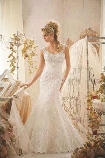 Mori Lee robes de mariée tulle sirène traîne chapelle application col rond