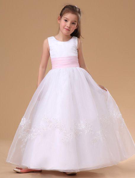 White Applique Satin Flower Girl Dress