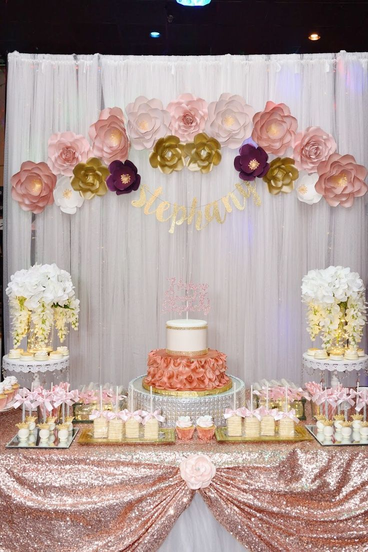 Sweet 16, backdrop, ideas, rose gold, paper flowers, cake, flowers, treat, table, wedding, theme