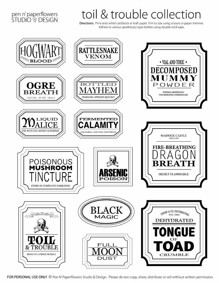 Free Halloween Printable Apothecary Jar Labels | Toil & Trouble
