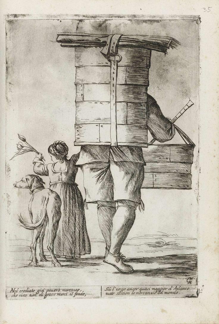 Verkoper van droogwaren met meisje en hond, Giuseppe Maria Mitelli, 1660