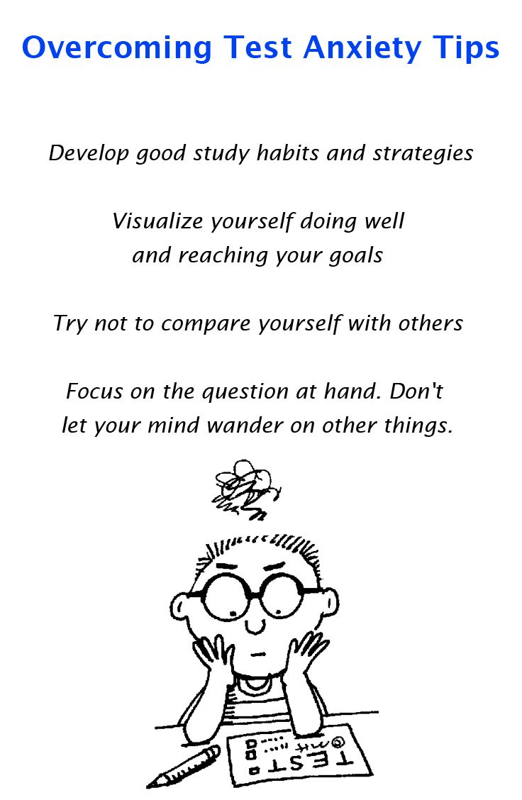 essay on overcoming test anxiety Test anxiety essay question: test anxiety is a problem for many students he uses his personal experience and proves that we can overcome anxiety.
